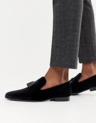 Office Imperial tassel loafers in black velvet - Black