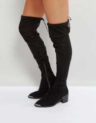 Office Karma Over The Knee Boots - Black