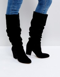 Office Kowl Slouch Leather Boots - Black
