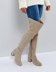 Office Krown Suede Over The Knee Boots - Grey