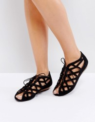 Office Leather Cutout Flat Sandals - Black