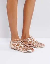 Office Leather Cutout Flat Sandals - Gold