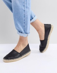 Office Lucky Black Leather Espadrilles - Black