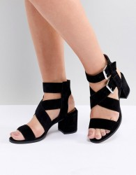 Office Miles Black Suede Buckle Block Heeled Sandals - Black