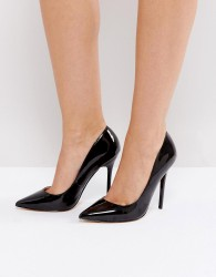 Office Patent Pointed Court Shoes - Black