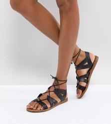 Office Saffy Black Leather Gladiator Lace Up Sandals - Black