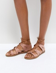 Office Saffy Leather Gladiator Lace Up Sandals - Pink