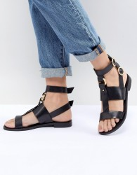 Office Shadow Black Leather Sandals - Black