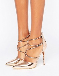 Office Spears Rose Gold Cross Strap Heeled Shoes - Gold
