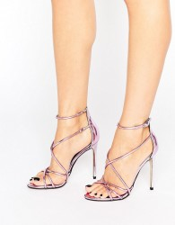 Office Spindle Pink Mirror Strappy Heeled Sandals - Pink