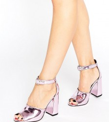 Office Stella Pink Mirror Flare Heeled Sandals - Pink