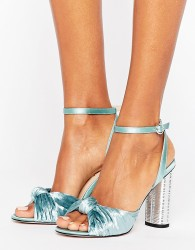Office Velvet Heeled Sandals - Blue