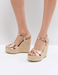 Office Wonder Rose Gold Espadrille Wedges - Gold