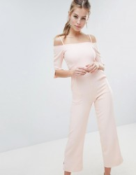 Oh My Love Bardot Tailored Jumpsuit - Cream