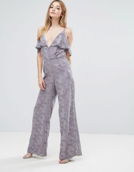 Oh My Love Cold Shoulder Jumpsuit With Frill Detail - Pink