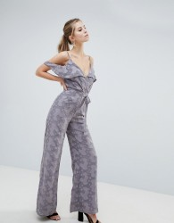 Oh My Love Cold Shoulder Lace Jumpsuit With Frill Detail - Purple