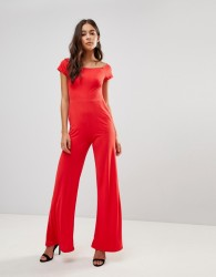 Oh My Love Flare Bardot Jumpsuit - Red