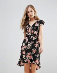 Oh My Love Floral Frill Detail Pephem Dress - Multi
