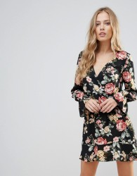 Oh My Love Floral Wrap Frill Long Sleeve Dress - Multi