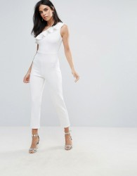 Oh My Love Frill One Shoulder Jumpsuit - Cream
