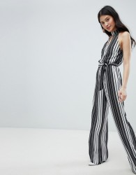 Oh My Love High Neck Striped Jumpsuit With Cut Out Detail - Black