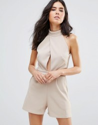 Oh My Love High Neck Wrap Cut Out Playsuit - Beige