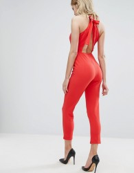 Oh My Love Jumpsuit With Bow Back - Red