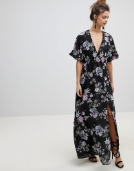 Oh My Love Kimono Sleeve Maxi Dress - Black