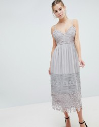 Oh My Love Lace Cami Midi Dress - Grey