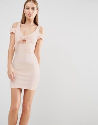 Oh My Love Mini Bodycon Dress With Bow Front - Pink