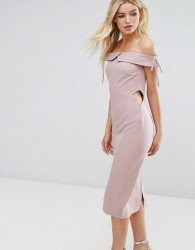 Oh My Love Off Shoulder Midi Pencil Dress - Pink