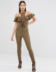 Oh My Love off the shoulder Jumpsuit - Green
