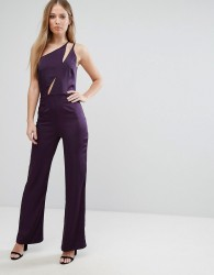 Oh My Love One Shoulder Jumpsuit - Red