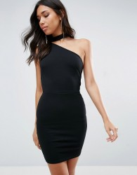 Oh My Love One Shoulder Mini Dress - Black