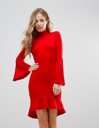 Oh My Love Pephem Midi Dress With Flare Sleeve - Red