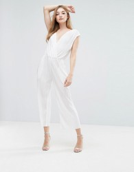 Oh My Love Pleat Wrap Jumpsuit - Cream