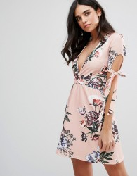 Oh My Love Plunge Tea Dress With Tie Sleeves In Floral Print - Pink