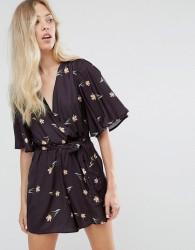 Oh My Love Printed Kimono Playsuit With Waist Tie - Multi