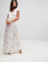 Oh My Love Satin Wrap Maxi Dress With Tie Waist - Red