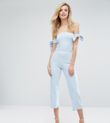Oh My Love Tall Bardot Culotte Jumpsuit With Tie Sleeves - Blue