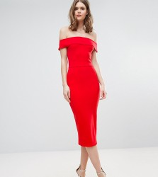 Oh My Love Tall Bardot Midi Dress - Red