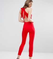 Oh My Love Tall Jumpsuit With Bow Back - Red