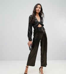 Oh My Love Tall Metallic Tie Front Jumpsuit - Gold