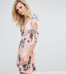 Oh My Love Tall Plunge Tea Dress With Tie Sleeves In Floral Print - Pink