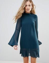 Oh My Love Textured Flare Sleeve Shift Dress With Pephem - Multi