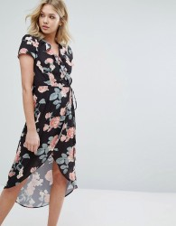 Oh My Love Wrap Dress With Frill Wrap And High Low Hem - Multi