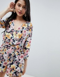 Oh My Love Wrap Front 3/4 Sleeve Playsuit In Floral Print - Multi