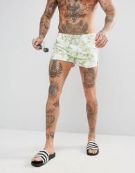 Oiler & Boiler Chevy Swim Short With Leaf Print - Green