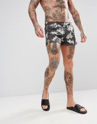 Oiler & Boiler Chevy Swim Shorts in Daisy Print - Black