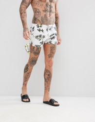 Oiler & Boiler Chevy Swim Shorts in Daisy Print - White